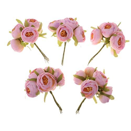 MagiDeal 30pcs Künstliche Kamelien Knospe Blütenköpfe Blumen Köpfe Hochzeit Parteidekor DIY Basteln - Rosa, 5 x - Kopf-tisch-mittelstücke