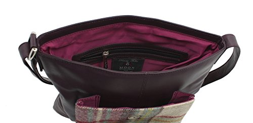 Borsa A Tracolla A Mano In Pelle Meal Leather Abertweed Collection & Tweed 730_40 Color Prugna Marrone