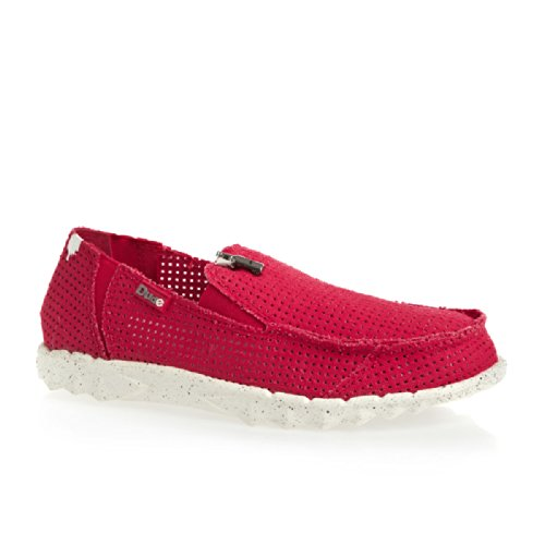 Dude Shoes Men's Dude Farty Post Sport Perforated Canvas Red Red