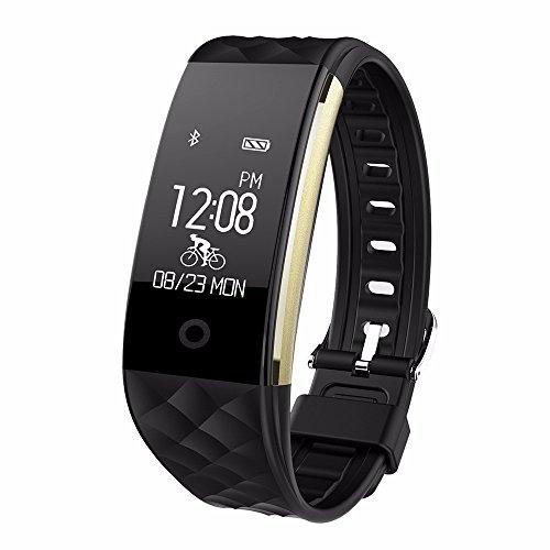 HR Fitness Tracker,Juboury Fitness Armband mit Touchscreen Aktivitäts-Tracker,Herzfrequenz,Schrittzähler,Schlaf Monitor,Treppen Zähler, Kalorien Tracker.Bluetooth Smart Wristand Wearable für Android und IOS Smartphones (Schwarz)