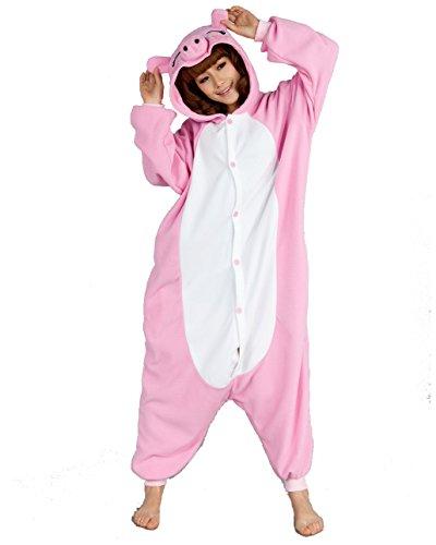 nesie Pyjama Pajama Kostüme Schlafanzug Erwachsene Unisex SMLXL (M: Körpergröße 161-168cm, Pink Pig) (Pig-kleinkind-halloween-kostüm)