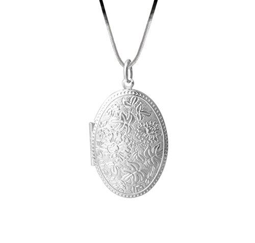 Veuer Schmuck für Damen Hals-Kette in Silber Versilbert Foto Bild Rahmen Anhänger Geschenk zu Weihnachten für die Freundin/Ehe-Frau/Frauen -