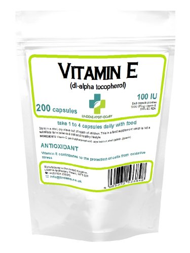 Tilos Vitamina E 100 UI c‡psulas | 200 Paquete | Poderoso antioxidante que contribuye a la protecci—n de las cŽlulas del estrŽs oxidativo