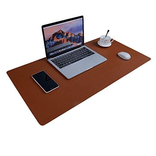 Schreibtischunterlage Multifunktionale Mauspad, 31,5 x 15,75 Zoll Rutschfeste Pu-leder Schreibtisch-maus-matte Wasserdichte Schreibtisch Pad Protector Schreibmatte -Braun / Grau