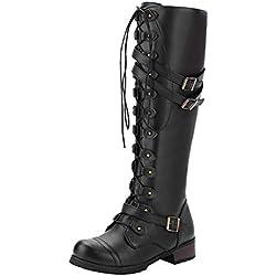 LuckyGirls Botas Moteras de Cuero de Caña Alta para Mujer Rectos Hebilla Vintage Moda Casual Botina Zapatillas Zapatos Planos con Cordones