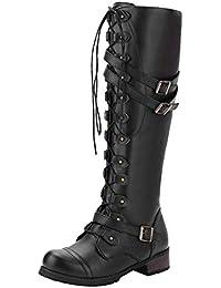 Damen Schuhe SHOBDW Frauen Mädchen Winter Trendigen Steampunk Gothic Vintage Style Retro Punk Schnalle Militär Kampfstiefel Mode Entwurf Schnüren Lange Röhre Stiefel