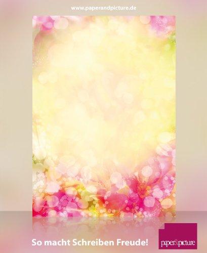 Blumen Fantasie Briefpapier Set Flower Fantasy, 40-teilig mit 20 Blatt Motivpapier DIN A4 und 20 passenden DIN LANG-Briefumschlägen
