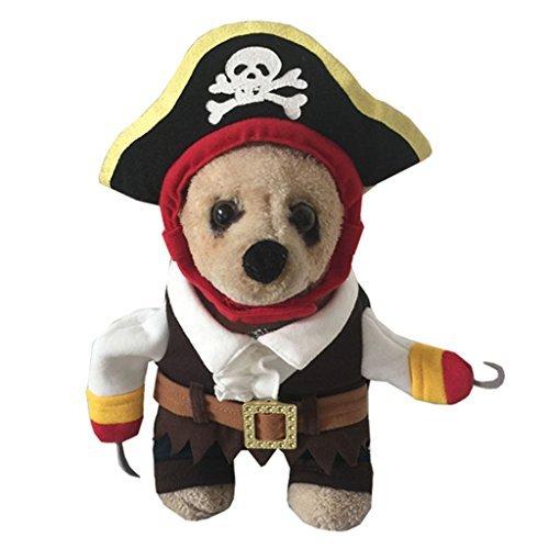 YOLSUN Karibik Pirat Pet Kostüm für Kleine Hunde & Katzen, S, Braun (Double Date Kostüm)