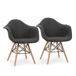 OneConcept Visconti • Schalenstuhl • Retrostuhl • Esszimmerstuhl • 70er-Jahre-Look • Retro-Design • 2-er Stuhl-Set • breite, Bequeme Sitzfläche • gepolsterte PP-Schale • grau