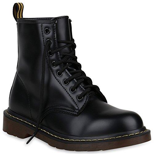 Kostüm Alle Schwarzen Leder (Damen Schuhe Stiefeletten Outdoor Worker Boots Leder-Optik 148301 All Schwarz 38 |)
