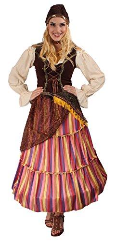 Zigeunerin Kostüm bunt für Damen | Größe 48/50 | 3-teiliges Orient Kostüm | Tänzerin Faschingskostüm für Frauen | Wahrsagerin Kostüm für Karneval