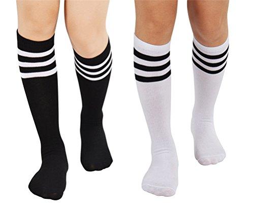 Kostüm Paare Elegante - EDOTON 2 Paare Damen Streifen Rohr Socken Casual Kniestrümpfe Elastischen Oberschenkel Stocking