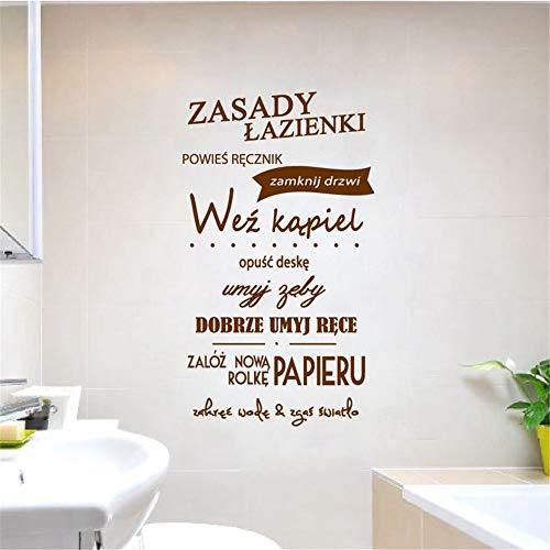 Polnische Badezimmer Regeln Zitat Vinyl Wandaufkleber WC Art Wall Decor, Polen Badezimmer Naklejka Wall Art Decals Dekoracja Domowa 70 * 40cm