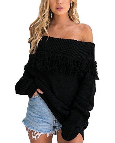 Minetom FemmeAutomne Hiver Chic Pullover Tricot Tassel Epaule Nue Manches Longues Jumpers Sweater Hauts Sweatshirt Chandail Tricoté Tops Blouse Noir
