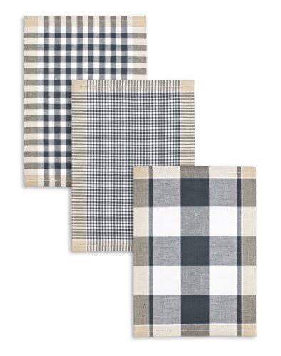3-er Pack Jacquard Geschirrtuch, Halbleinen, TRIOLINO®, Karo sortiert, anthrazit-schwarz-beige, 50x70cm