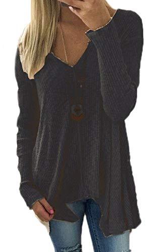 Donne le maniche lunghe maglione con scollo a v pullover asimmetrica black m