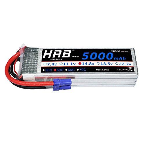 HRB 4S Lipo Batterie 14.8V 5000Mah 50C mit ec5-Anschluss für Traxxas RC Cars RC Quadcopter Flugzeug Auto LKW Boot Hobby