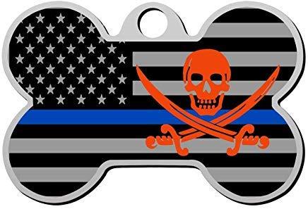 EstherMi19 Haustiermarke für Hunde und Katzen, dünn, Motiv: USA-Flagge, Totenkopf, personalisierbar, Knochenform, doppelseitig