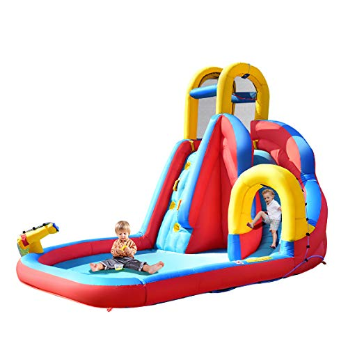 COSTWAY Kids Inflatable Bouncy Castle House Bouncer Water Park with Water Slide, Water Gun, Climbing Wall and Pool Area, for Garden Outdoor(Type 2 Bouncy Castle)