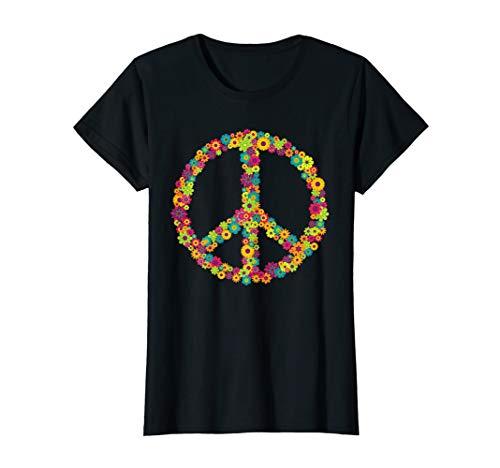 Damen Flower Power Peace Hippie 60er 70er Jahre Shirt für ()