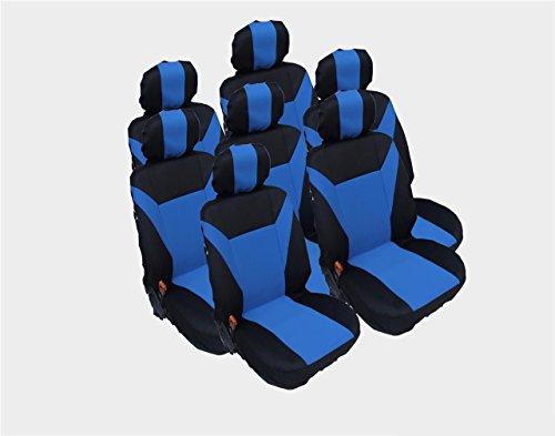 7x Sitze Sitzbezüge Schonbezüge Schwarz Blau Polyester Hochwertig NEU