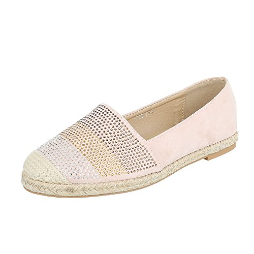 Ital-Design Slipper Damenschuhe Low-Top Blockabsatz Moderne Halbschuhe Altrosa HJ88-23