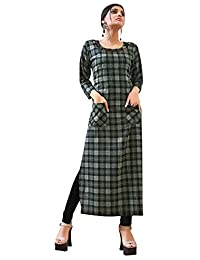 Rose Petals Fully Stitched Indo Western Reyon Check Kurti in Different Designer Cuts and Style with unique neck detailing (CHEp5004), check dress for women western, checks kurtis for women latest