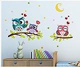 Adesivi murali gufo sul ramo cameretta per bambini camera da letto al lato del letto decorativi adesivi per cornici fotografiche formato 60x40cm