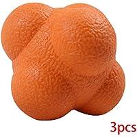 MUANI 3pcs TPR Hexagonal en Forma de Bola de formación de Alta dificultad reacción de sensibilidad Trainer Velocidad de Orange