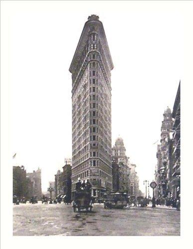 Buyartforless Flat Iron Building Turn of The Century Foto, 19,75 x 15,5 cm, Kunstdruck, Wanddekoration, New York City Vintage Antik Pferd und Buggy
