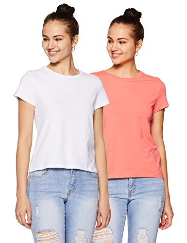 Amazon Brand - Symbol Women's Plain Regular Fit T-Shirt (Pack of 2) (RN-PO2-COMBO4-White & Coral Pink-M)