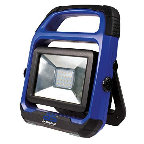 as - Schwabe Chip-LED Akku Arbeitsleuchte - 20 W Profi Baustrahler - LED Spot geeignet als Baustellenstrahler - Mobile LED Leuchte für die Außenbeleuchtung - Akku mit Batterieanzeige - Blau I 46492 - Led-chip