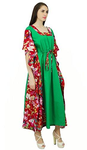 Phagun Papillon Coton Caftan Caftan Bohème Robe De Nuit Longue Maxi Vert Et Marron