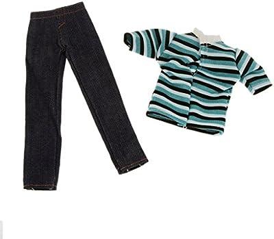 Trajes Rayas De Vestir Casuales Camiseta Con Pantalones De Mezclilla Ajuste Ken Muñeca