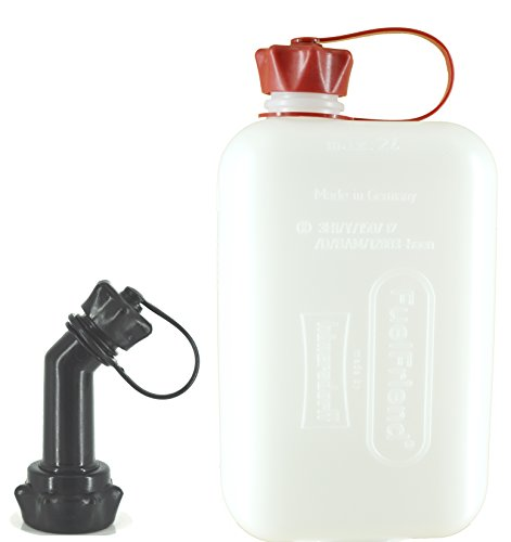 FuelFriend BIG CLEAR max. 2,0 Liter Klein-Benzinkanister Mini-Reservekanister mit Füllrohr verschließbar
