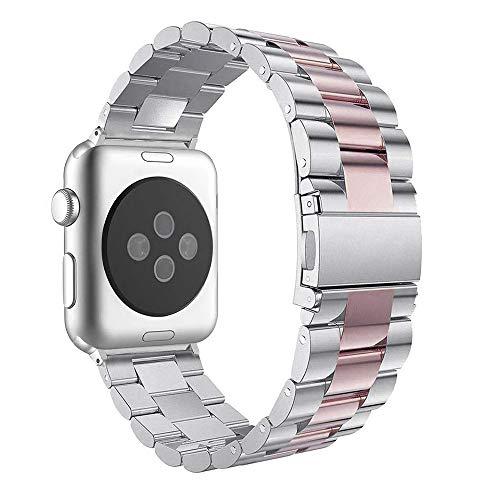 Armband für Apple Watch 42 mm, Armbänder Apple Watch Series 3 Uhrenarmband Apple Watch Series 4 44mm Ersatzarmband Edelstahl iWatch 42mm Sport Strap mit Metallschließe für Apple Watch 42mm/44mm