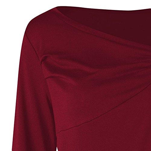 YTJH Damen Langarmshirt Rot