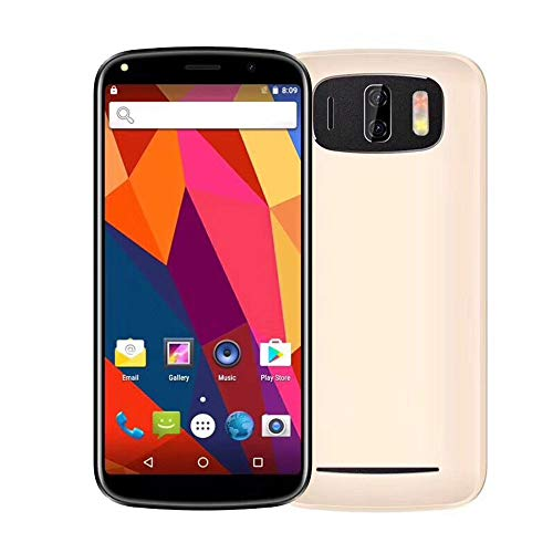 Smartphone, 6,0 Zoll entriegeltes Handy 18: 9 Doppelkamera Android 7.0 Smartphone T-Mobile Quad Core Zwei SIM 3G, 1 GB RAM + 4 GB ROM (Gold)