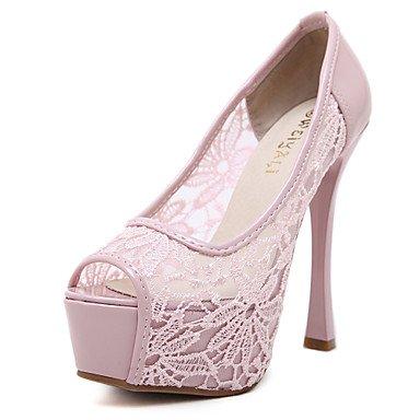LvYuan Sandalen Frühling Sommer Herbst Vereinschuhe Komfort Tüll Hochzeitsgesellschaft&Abendkleid Stilettferse Teilfuge Blume Fuß Pink
