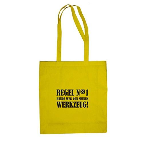 Hände weg von meinem Werkzeug - Stofftasche / Beutel, Farbe: gelb