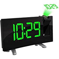 FOOSKOO Clock Despertador Digital Proyector Pantalla Led Proyección Digital Despertador Radio FM Reloj Doble Despertador con