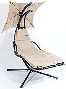 Charles Jacobs Day Dream Hammock Outdoor Garden / Patio Premium Hanging Sun Seat Relaxer Swing Chair with Cushion, Stand & Sunshade, Removable Cushion and Sun Canopy (Beige)