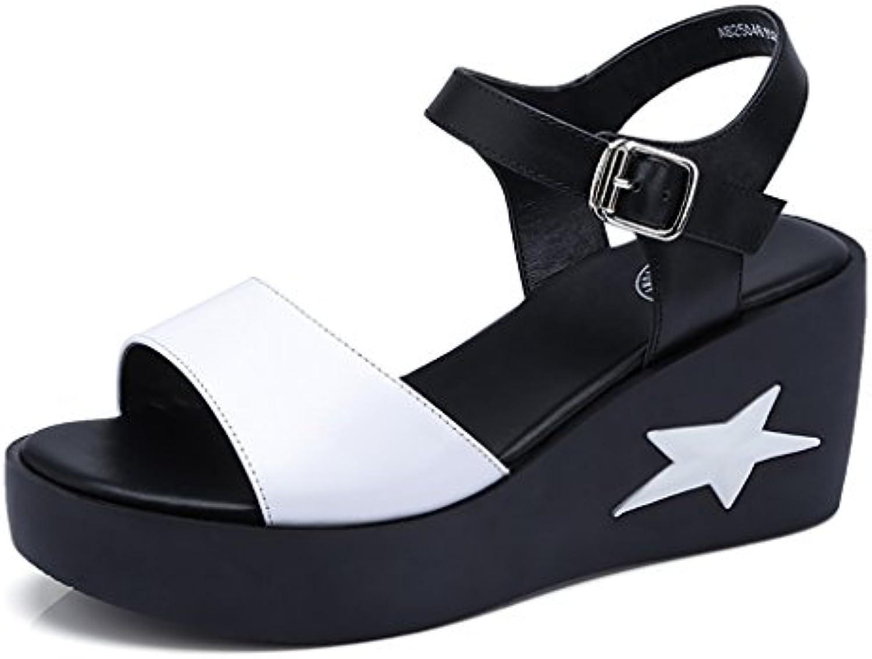 YLLXZ Zapatos de Mujer Sandalias Planas Primavera y Verano Pendiente Fondo Grueso Puntera Abierta Tacones Altos...
