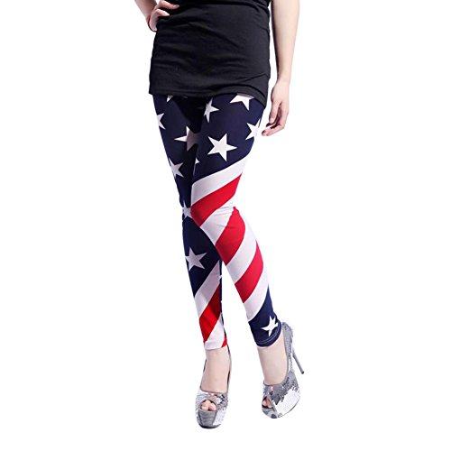 Moresave Damen Sommer American Flagge Leggings USA Streifen Star Druck Hosen (Damen-t-shirts Patriotische)