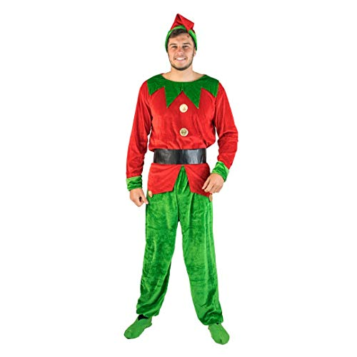 Bodysocks Fancy Dress Costume da Elfo Aiuto di Babbo Natale per Uomo