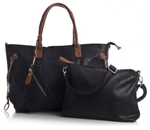 Big Handbag Shop donna top con apertura zip 3in 1Borsa Shopper Borsa con tracolla lunga, e portare borsa media Black