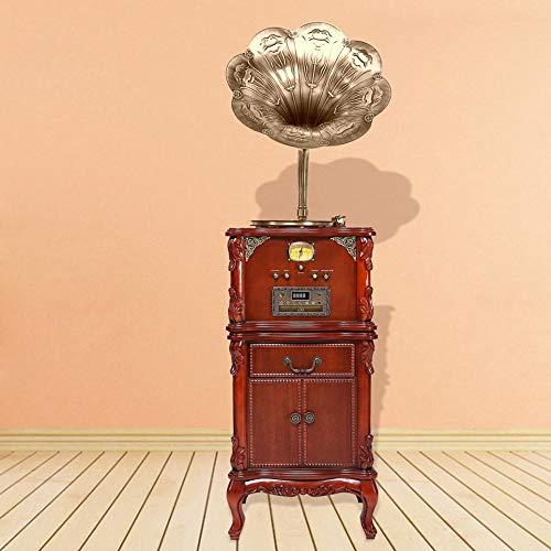 Hongge Retro Lautsprecher Plattenspieler solide Holz Vinyl-Plattenspieler-Bass Gun blau-Zahn Vintage Radio Anhänger 50 * 40 * 175 cm - Vinyl Plattenspieler Holz