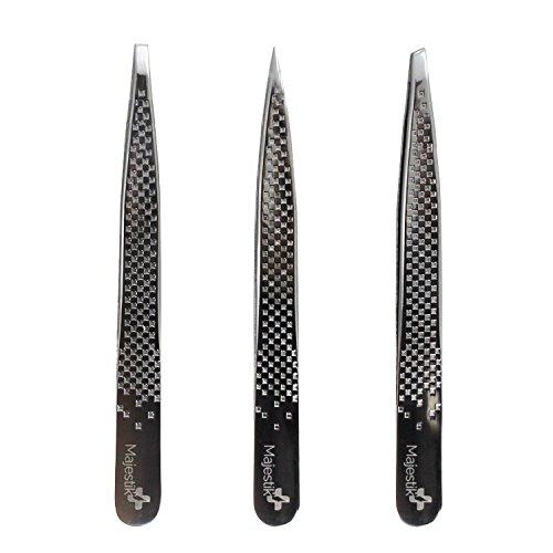 3 Spitzen Premium Edelstahl Pinzette Set mit Fall - Slant Pinzette, gerade und spitz Spitze mit Fall - Beste Verwendung für Best für Augenbrauen, Nase und eingewachsene Haare, Splitter & mehr