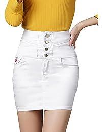 Cintura Alta Tamaño Grande Ajustada Falda Mujer Bordado Falda Corta De  Mezclilla 2a485d68aea3