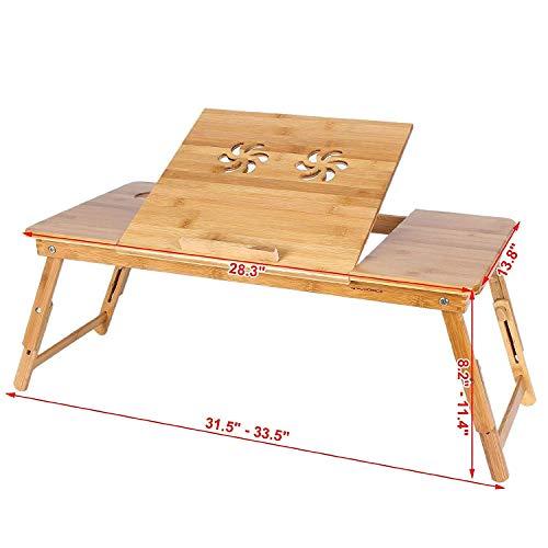 JASZW Laptop-Kühler, Lap Desk für Laptop-Ständer/Tisch 21 Zoll, mit doppeltem Laptop-Lüfter und Schublade,L -